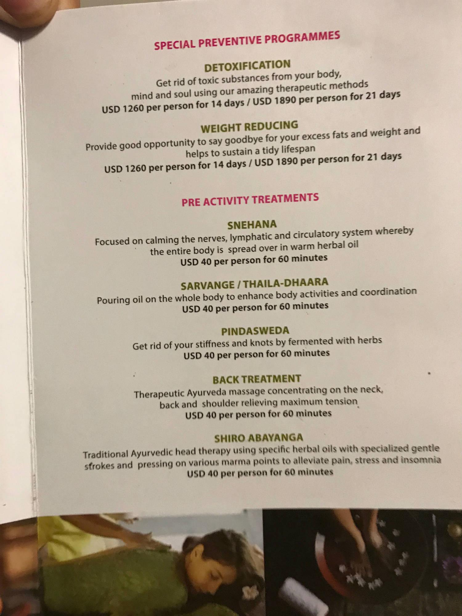 ayurveda pavilions menu